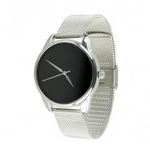 Часы ZIZ Минимализм черный на металлическом браслете (серебро)