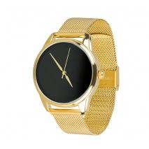 Часы ZIZ Минимализм черный на металлическом браслете (золото)
