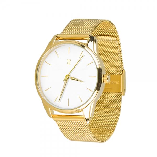 Часы ZIZ Золотым по белому на металлическом браслете