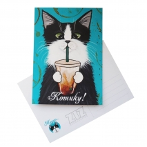 Открытка ZIZ Кот со стаканом